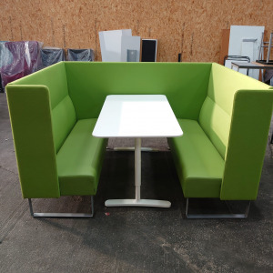 Used Materia Green Booth Seating Pod With White Table