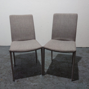 Second Hand Pair Of Modern Multipurpose Dining Chairs, Grey Fabric, Metal Legs. £40+VAT. Buy Online - City Used Office Furniture Shops UK