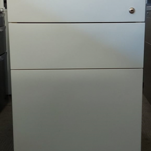 Used White Metal 3 Drawer Mobile Desk Pedestal / No Keys Width 430mm