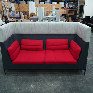 Used Senator Allermuir 2 Seater High Back Booth Sofa, Red / Grey