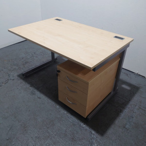 Used Maple Rectangular Desk, Cantilever Frame + Pedestal, W1200mm