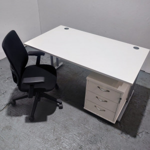 Used White Desk, Haworth Office Chair + Pedestal Set, Width 1400mm