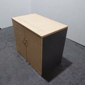 Used Desk Height Storage Cupboard, 1 Shelf, Beech / Graphite Sides