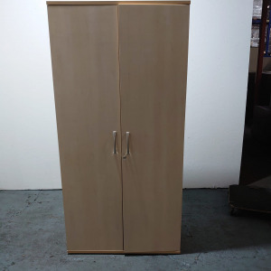Used Tall Office Storage Cupboard, 3 Shelves, Maple, Height 2060mm