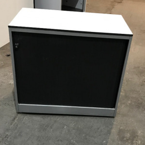 Used Ahrend Desk Height Office Tambour Cupboard, Lockable, Black