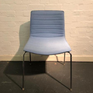 Used Arper Catifa 53 Designer Stackable Chair, Chrome Legs, Baby Blue