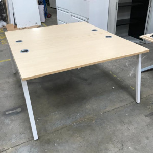 Used Back To Back Bench Desks For 6 People, Maple, 4200mm Width