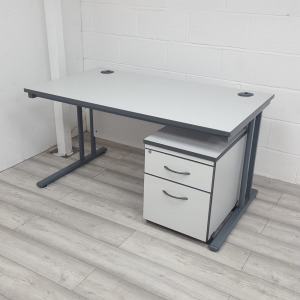 Used White Cantilever Office Desk & 2 Drawer Pedestal Width 1400mm
