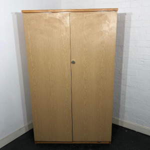 Used Mid Height 2 Door Cupboard, Lockable Storage, 3 Shelves, Oak