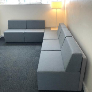 Used Corner Reception Sofa Set With Matching Table & Built in Lamp