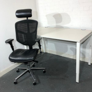 EasyErgo Executive Mesh Office Chair & Haworth Height Adjustable Desk