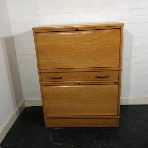 Used Mid Height Side Filing Cabinet, 2 Compartments Plus Drawer, Beech