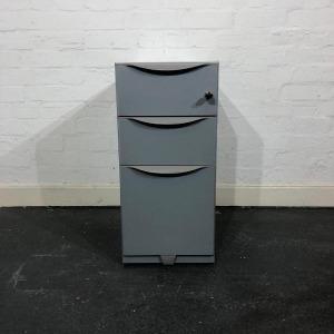 Used Slimline 3 Drawer Metal Desk Pedestal, Grey, Width 300mm