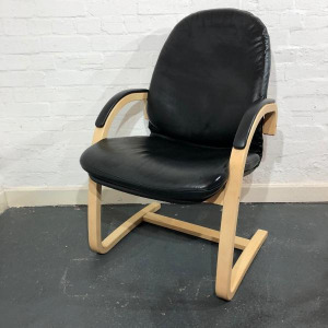 Used Real Black Leather Visitor / Reception Chair, Maple Cantilever Frame