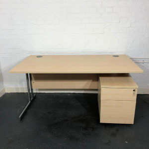 Used Maple Rectangular Desk & 2 Drawer Pedestal 1500mm x 800mm