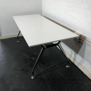 Used White Vitra Designer Meeting Table / Large Desk, Width 2000mm