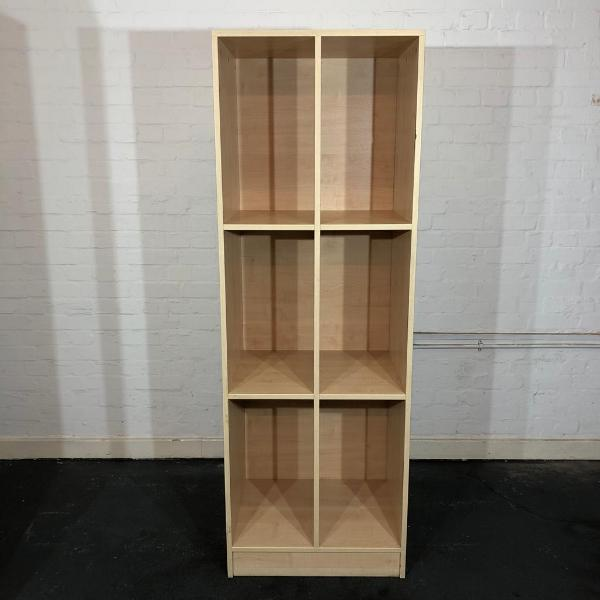 Used Tall Bookcase / Pigeonhole Unit, Maple Finish, Width 620mm