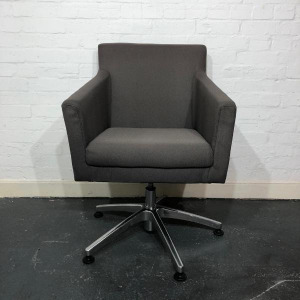 Used Armchair / Conference Chair With Swivel Base, Castor Wheels, Grey