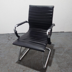 Used PSI Aria Amca Conference / Meeting Chair, Ribbed, Black Leather