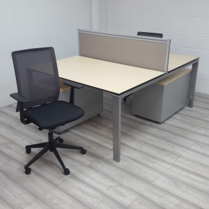 Used Forma 5 Sentis Office Chair, Maple Back To Back Bench Desk & Pedestal Set
