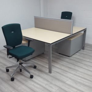 Used Senator Sprint Office Chair, Maple Bench Desk & Pedestal Set