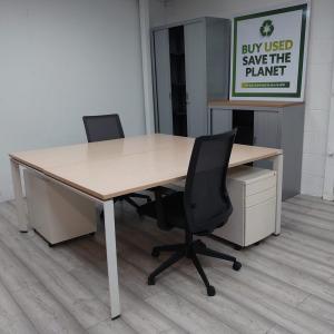 Used Forma 5 Office Chair, Oak Back To Back Bench Desk & Pedestal Set