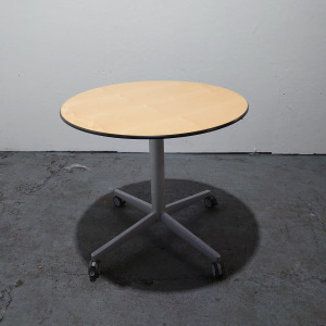 Used Bene Height Adjustable Round Meeting Table, Mobile, Maple