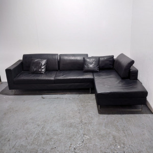 Used Real Leather Corner Sofa, Black, 2870mm x 1700mm