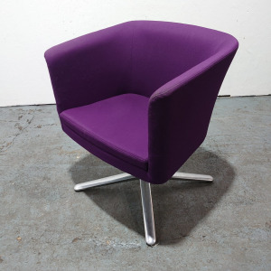 Used Connection Tub Chair / Swivel Armchair, Chrome Base, Purple Fabric