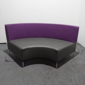 Used Rhubarb Curved Modular Reception Sofa, Grey / Purple Fabric