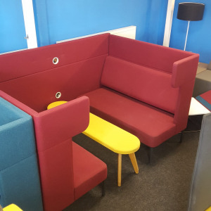 Used Frovi Booth Seating With Jig Bench & Table (Teal, Red & Yellow)