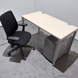 Used Haworth Height Adjustable Maple Desk + Lively Chair + Pedestal