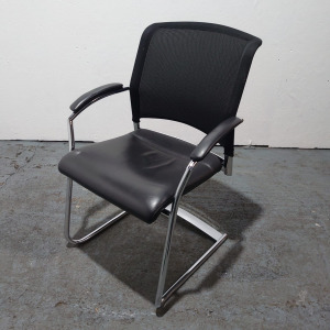 Used Interstuhl Articale Mesh Meeting Chair, Leather Seat, Black