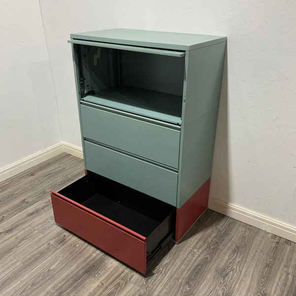 Used Meridian Metal Mid Height Side Filing Cabinet, 4 Drawers, H1380mm