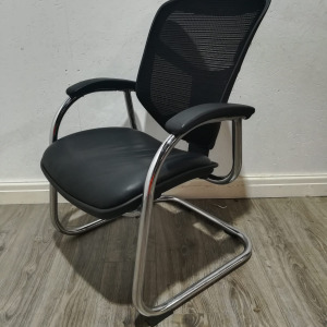 Used Mesh Back Office Meeting Chair, Black Leather, Cantilever Frame