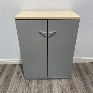Used Mid Height Office Cupboard, 2 Shelves, Maple Top / Silver Frame