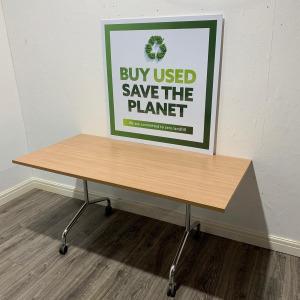 Used Mobile Fliptop Table, Portofino Cherry, Width 1600 x Depth 800 mm