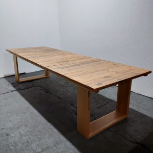 Used Modern Large Oak Meeting / Dining Table, Box Legs, L3000mm