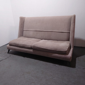 Used Vibieffe Designer Italian 2 Seater High Back Sofa, Taupe Fabric