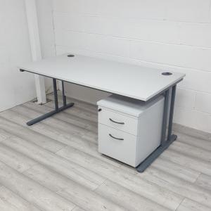 Used Light Grey Cantilever Office Desk & 2 Drawer Pedestal W 1600mm