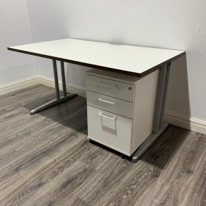Used White Cantilever Desk, Walnut Trim & 3 Drawer Pedestal W1400mm
