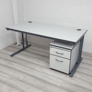 Used White Rectangular Office Desk & 2 Drawer Pedestal 1600x800mm