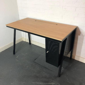 Used Bisley Oak Small 1200mm Desk With Built-in Pedestal, Metal Frame