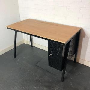 Used Bisley Oak Small 1200mm Desk With Built-in Pedestal, Metal Frame