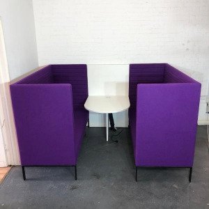 Used Marelli 4 Person Purple Booth Seating + White Table & Power Port
