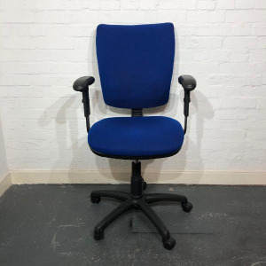 Used Office Operator Chair, Adjustable Armrests & Back Height, Blue