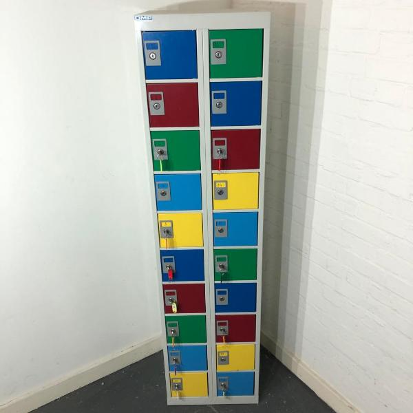 Multicoloured Metal Storage Locker, 20 Compartments, With Keys