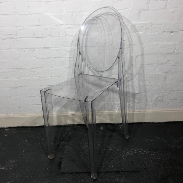 Used Kartell Victoria Ghost Chair, Italian Designer Make, Clear Finish