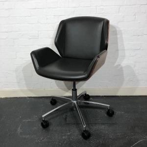 Used Boss Design Kruze Meeting Chair, Swivel, Leather, Grey / Walnut