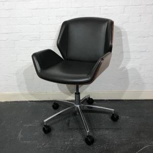 Used Boss Design Kruze Meeting Chair, Swivel, Leather, Grey / Walnut